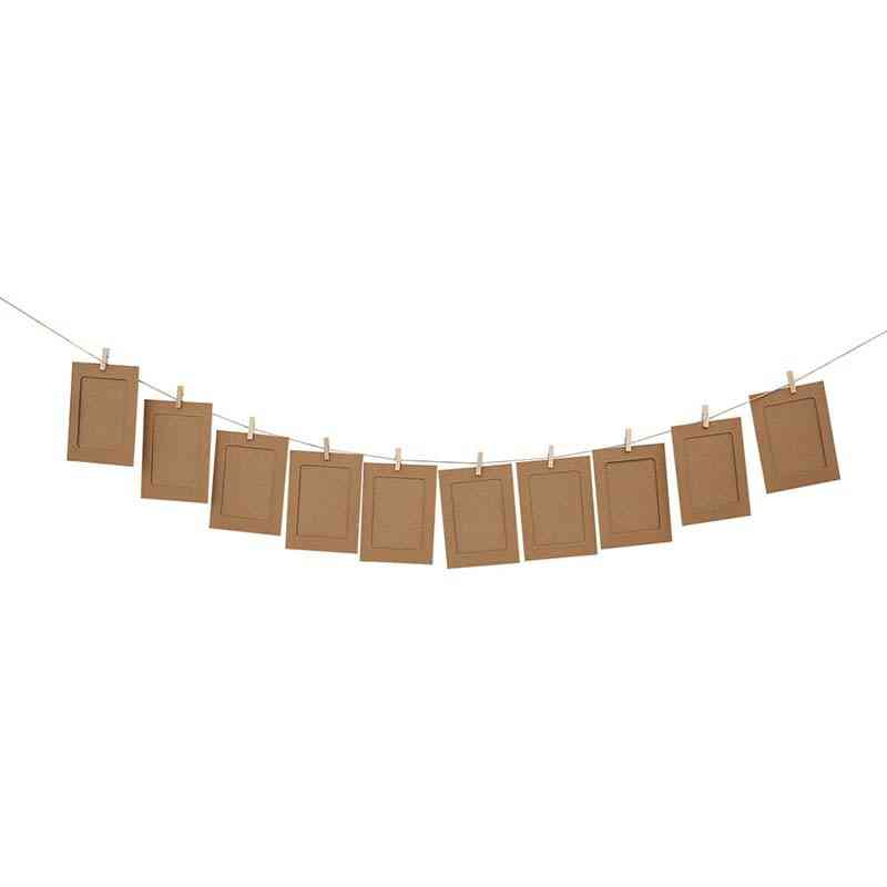 Paper Photo Frame With Clips-diy Home Decoration Hanging Album