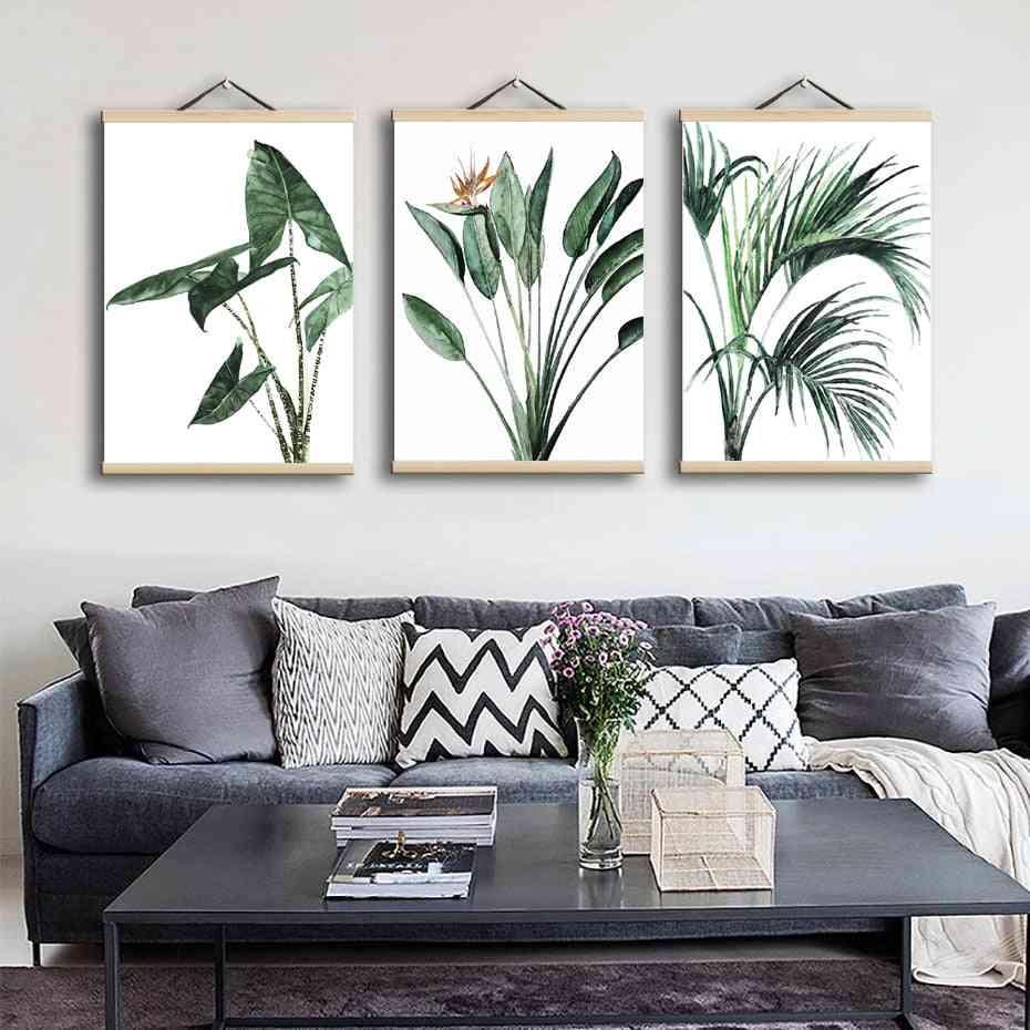 Magnetic Poster Teak Wooden Hanger Frame - Natural Painting Photo Frame, Canvas Wall Art Craft Frame Art Hanger