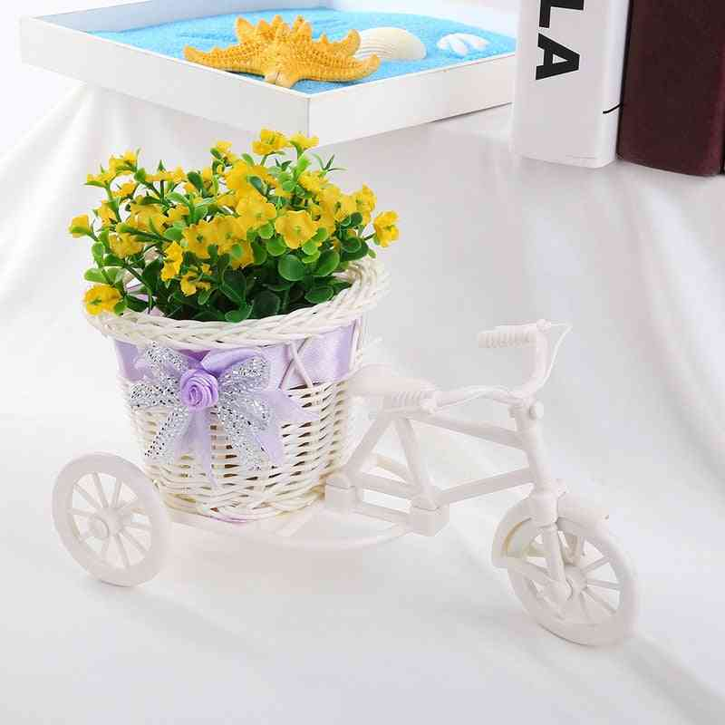 Modern Rattan Tricycle Bike Basket Flower Decor Tool - Home, Garden, Wedding, Party, Office Table Vase Decoration