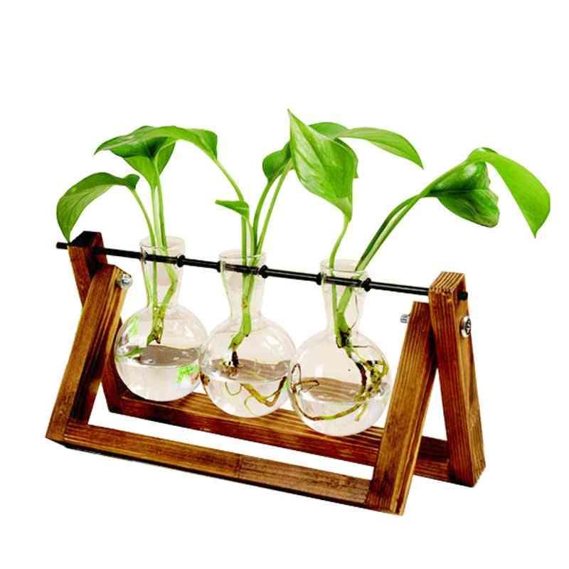 Creative Terrarium Hydroponic Plant Transparent Wooden Frame Vase