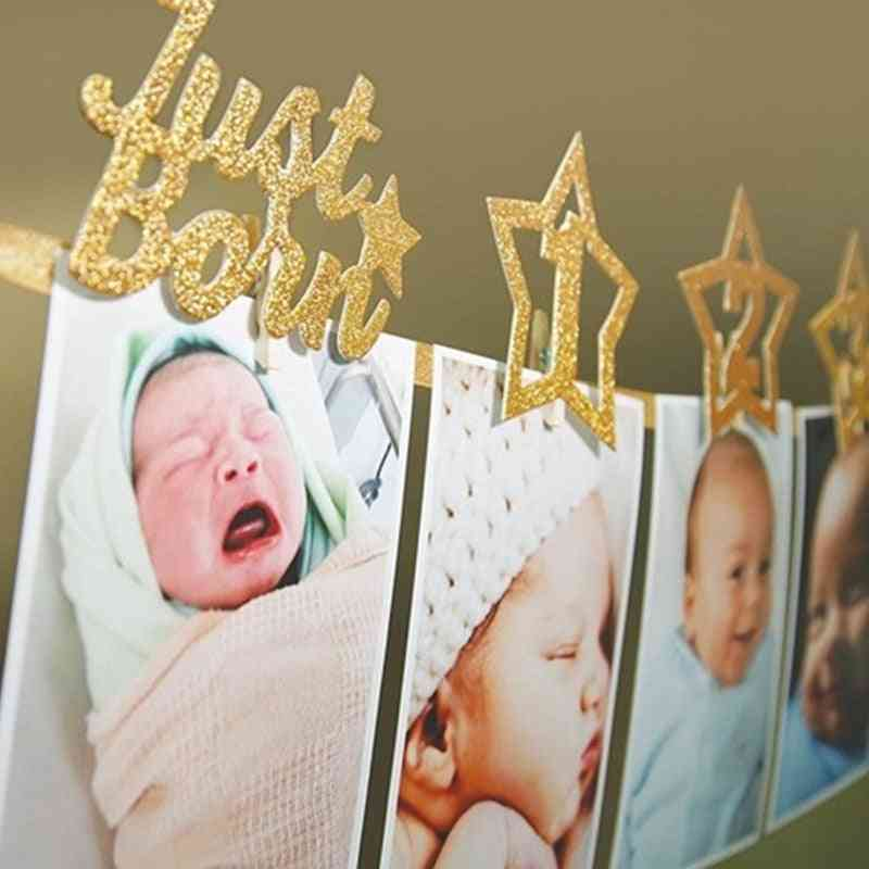 1st Birthday Photo Frame - 12 Months Baby's Photo Frame, Baby Shower Photo Holder, Kids Birthday Banner