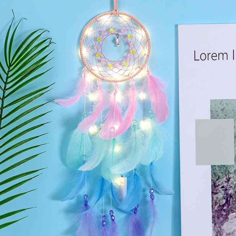 Led Handmade Feather Dreamcatcher - Braided Wind Chimes Art For Room Decoration Hanging