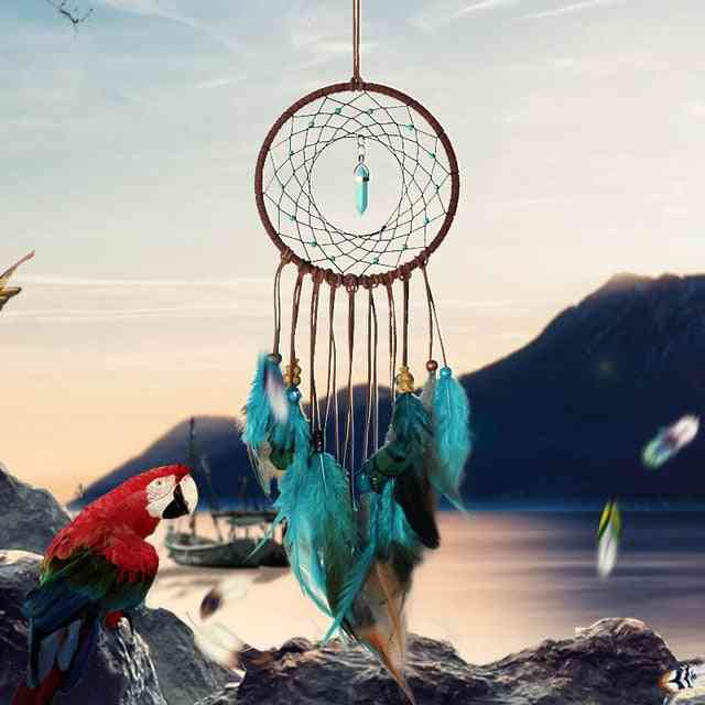 Beautiful, Colored Feathers Dreamcatcher -wall Hanging
