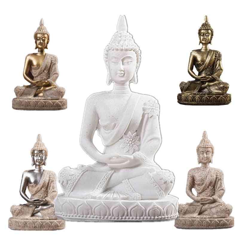 Nature Sandstone India Buddha Statue - Fengshui Sitting Buddha Sculpture Figurines Vintage Home Decor