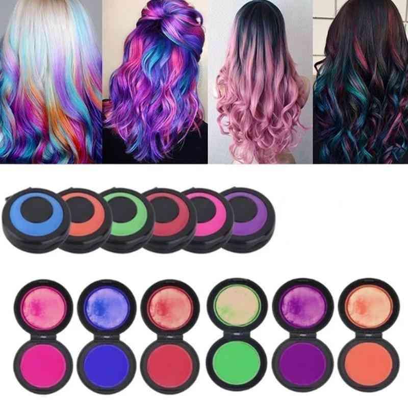 6 Colors Temporary Fast Hair Coloring Set - Hair Dye Powder Cake , Styling Chalk Set