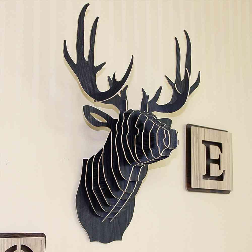 3d Wooden Animal Deer Head Art Model Wall Hanging Decoration Storage Holders - Racks Craft Home Decor