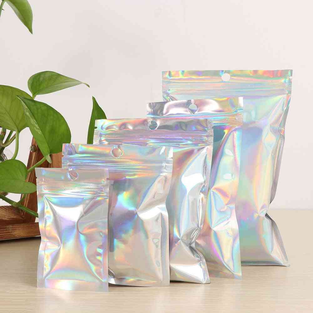 Iridescent Holographic Zip Lock Pouches, Bags For Cosmetic, Makeup