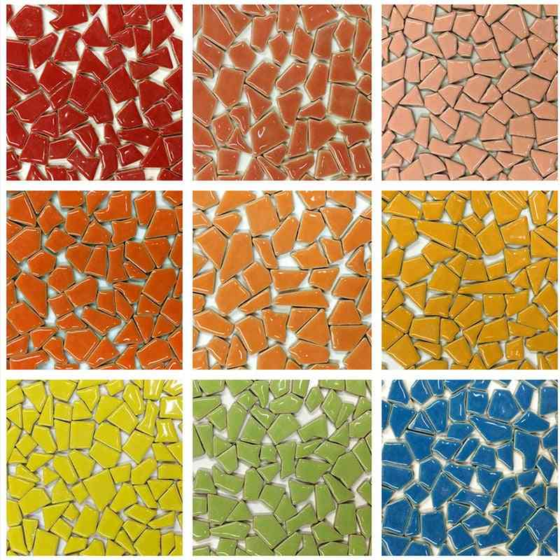 Mixed Color Diy Ceramic Mosaic Glass Mirror Handmade Ornaments, Tiles
