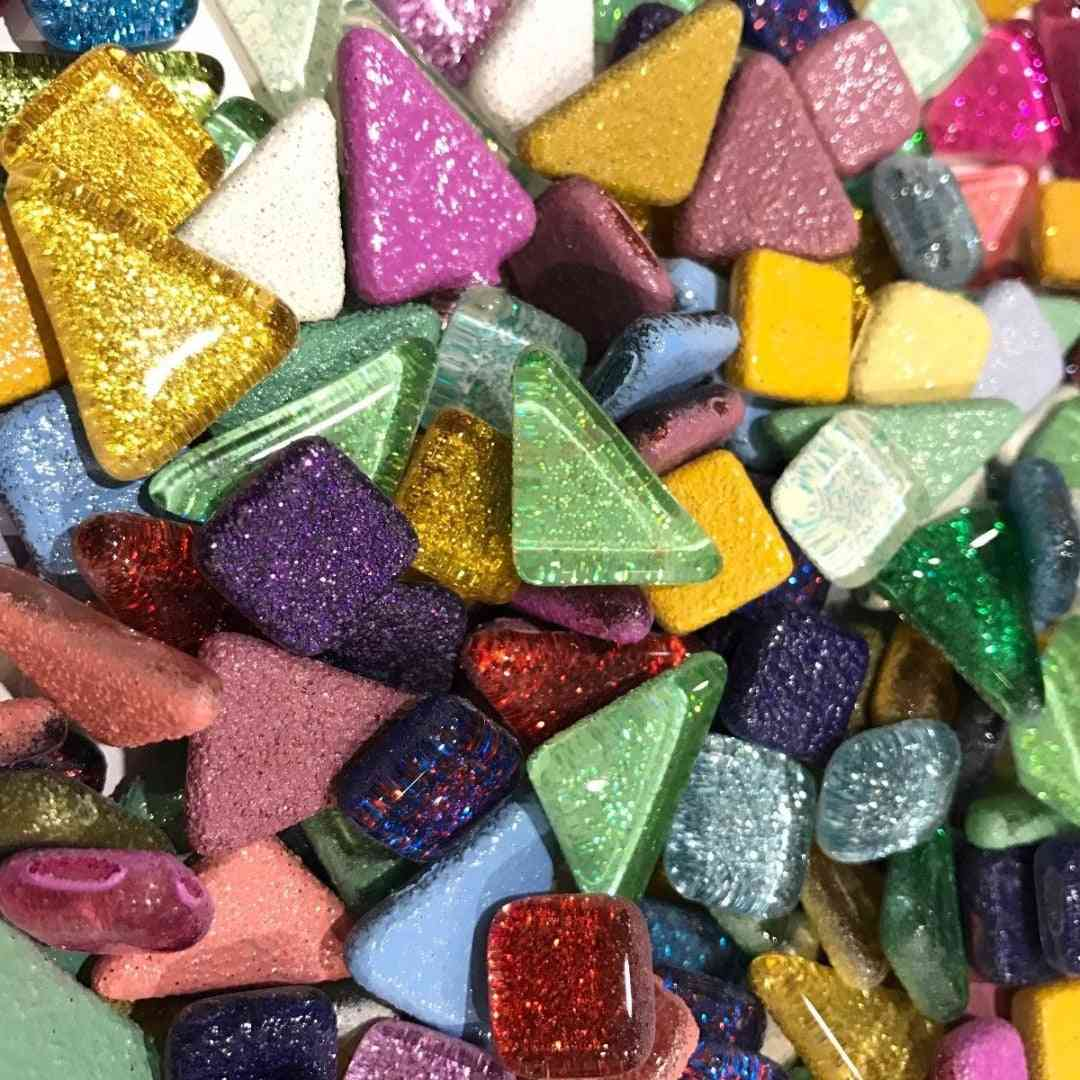 Colorful Glitter Shiny Craft Material Glass- Mosaic Tiles