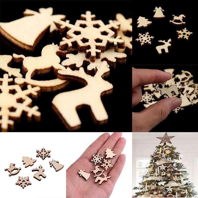 100pcs Christmas Decoration Wooden Snowflake - Christmas Tree ,deer Trojan Natural Wooden Diy Christmas Tree Hanging Ornaments
