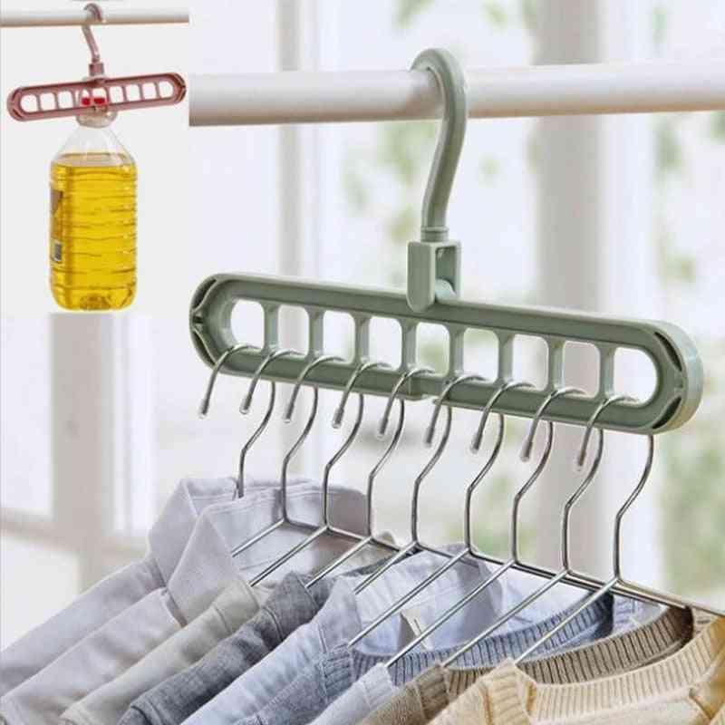 Multi-function Nine Holes 360 Rotating Magic Hanger Folding Hanger Wardrobe Drying Clothes Home Bedroom Storage Holder Organizer