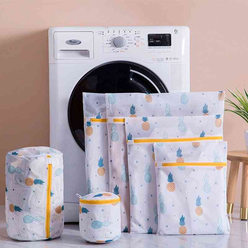 Pineapple Printing Zippered Mesh, Laundry Polyester Washing Net Bag
