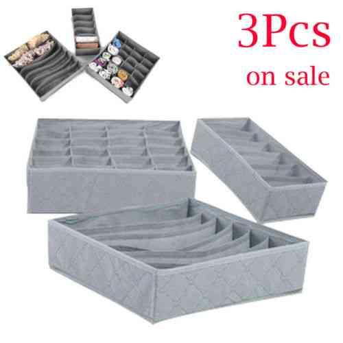 3pcs/set Foldable Drawer ,organizers ,storage Box Case For Bra ,ties, Underwear , Socks , - Scarf Drawer