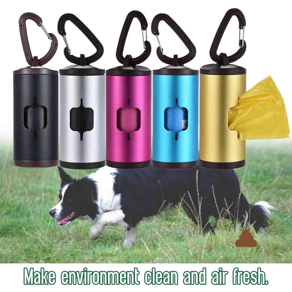 Colorful Pet Poop Holder Dog Waste Dispenser Aluminum Alloy Tube Includes Waste Bags Refillable