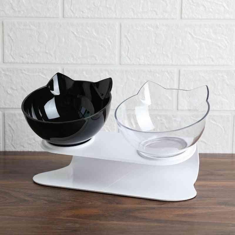 Explosive Cat Double Bowl, Cat Bowl, Dog Bowl, Transparent Material Non Slip Food Bowl With Protection Cervical Transparent Cat