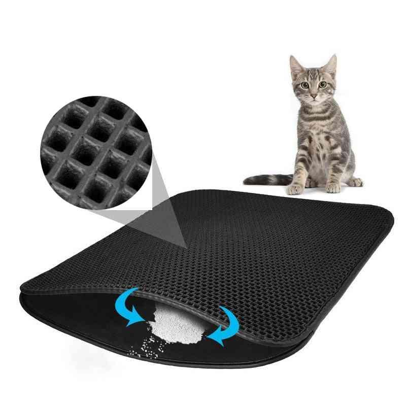 Waterproof Pet Cat Litter Mat, Double-layer Litter Cat Pads, Trapping Pet - Litter Box Mat For Cats House