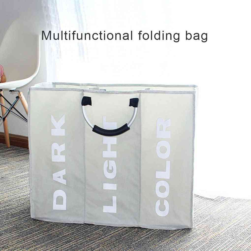 3 Section Foldable Waterproof Laundry Basket With Handles - Household Multifunctional Storage Bag