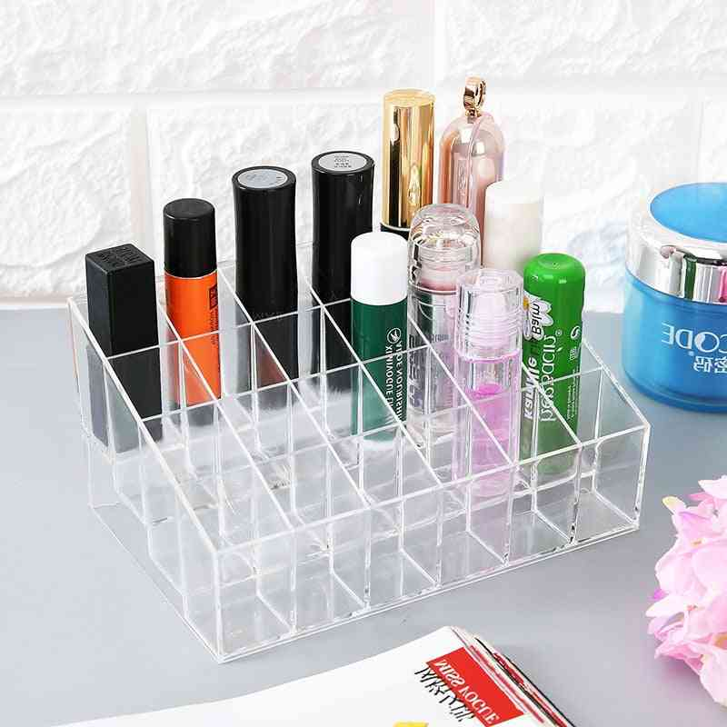 Multiple Grid, Acrylic, Transparent-makeup Organizer Box