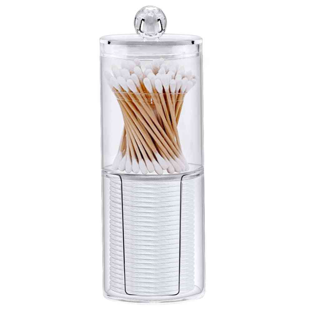 Acrylic Multifunctional Round Receive Box Jewelry - New Cosmetic Make Up Cotton Swabs, Transparent Container