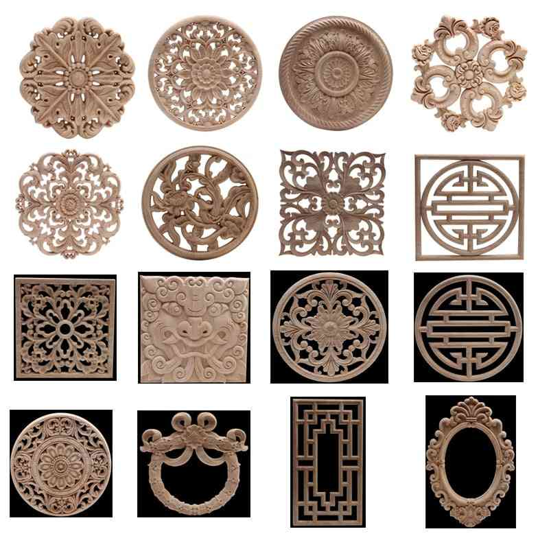 Carved Unpainted Ornamental Natural Wood Applique/mouldings - Wooden Cabinet Furniture Corner Onlay Wood Decal