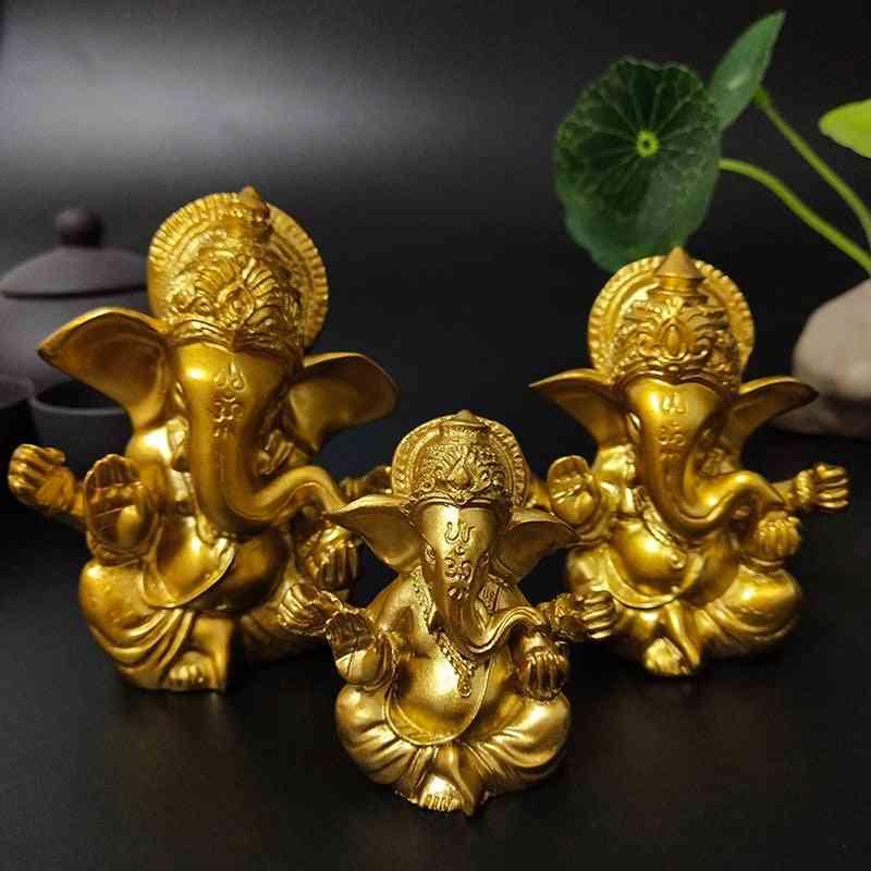 Lord Ganesha, Gold Indian Elephant God -sculpture Figurine