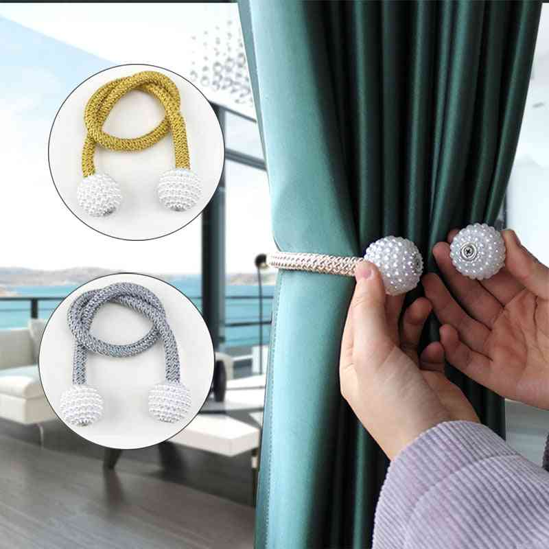 Magnetic Pearl Ball-buckle Strap For Curtains Tieback