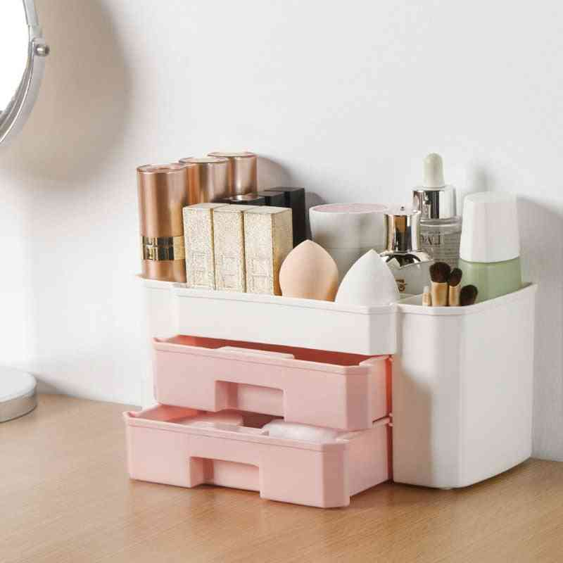 Cosmetics Storage Plastic Box - Large Makeup Holder, Nail Polish Organizer And Puff Case
