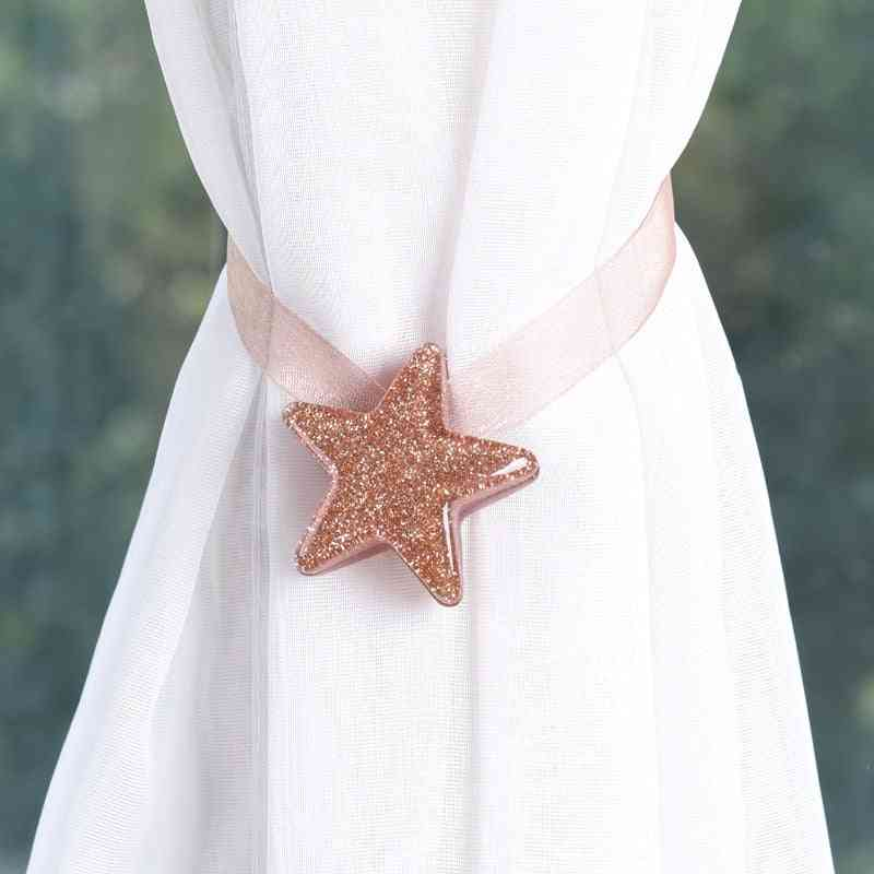 Star Shape, Magnetic Buckle And Mesh Strap-curtain Tieback