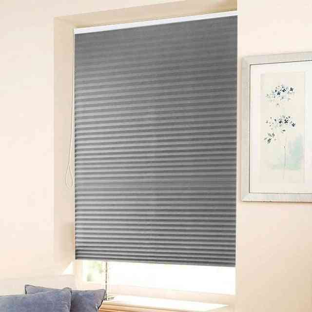 Self Adhesive Pleated Blinds Half Blackout Windows Curtains For Kitchen, Bathroom, Balcony