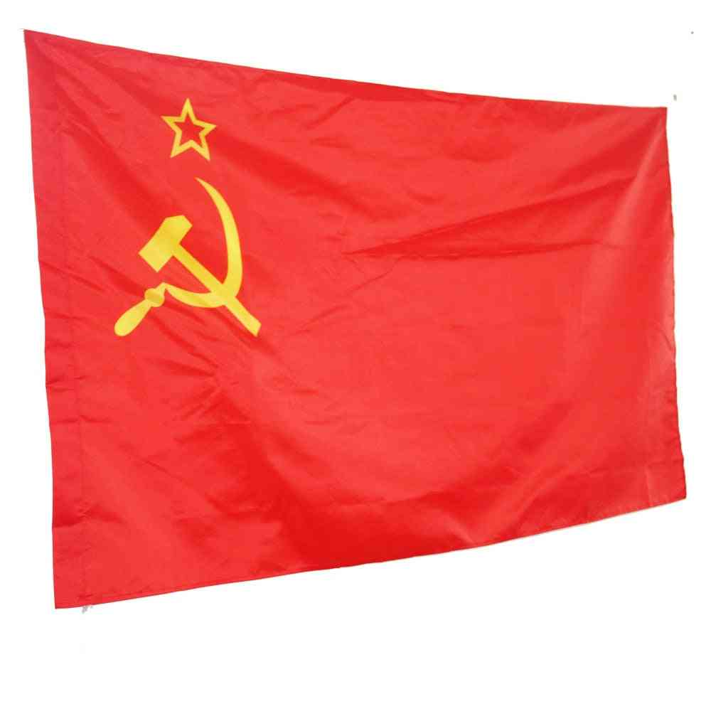 Red Cccp, Union Of Soviet, Russian Empire Socialist Republics 3x5' Feet Super Poly Indoor/outdoor Flag Banner