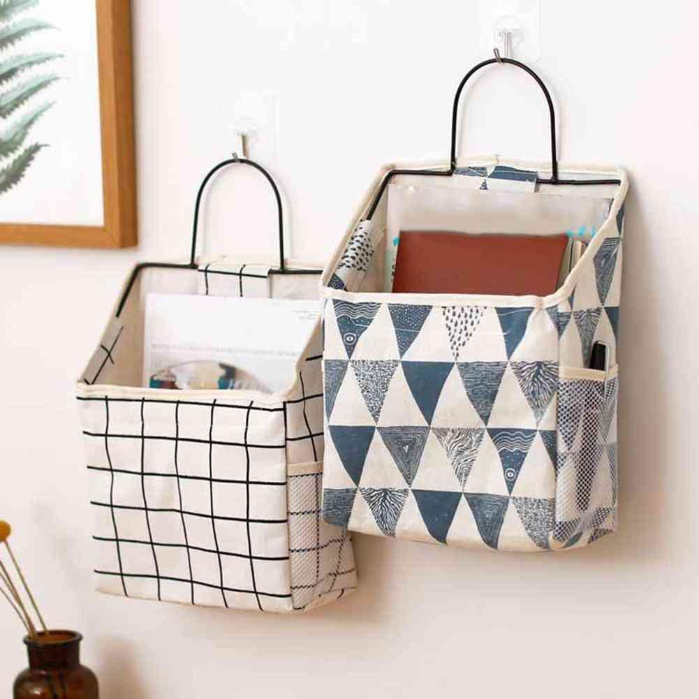 Lattice Hanging Storage Bag Bedside Storage Organizer - Dorm Room Phone Book Magazine Storage Bag Holder With Hook Bed Pocket