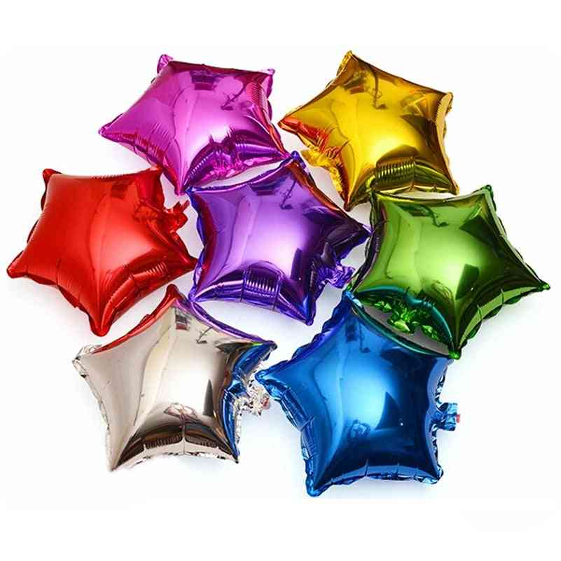10pcs/lot Five Pointed Star Foil Balloon For Baby Shower, Wedding, Birthday Party Decorations