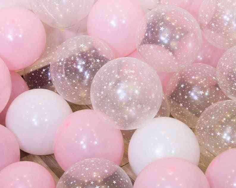 Star And Clear Design, 12 Inch Latex Balloon Set For Wedding, Baby Shower, Birthday, Party Decoration