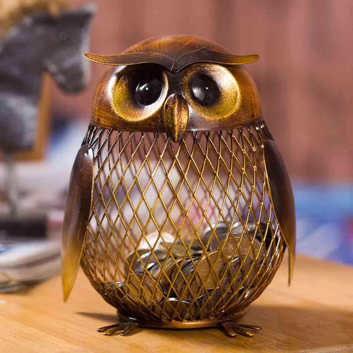 Owl Metal Piggy Coin Bank - Home Decoration Figurines Craft, Christmas