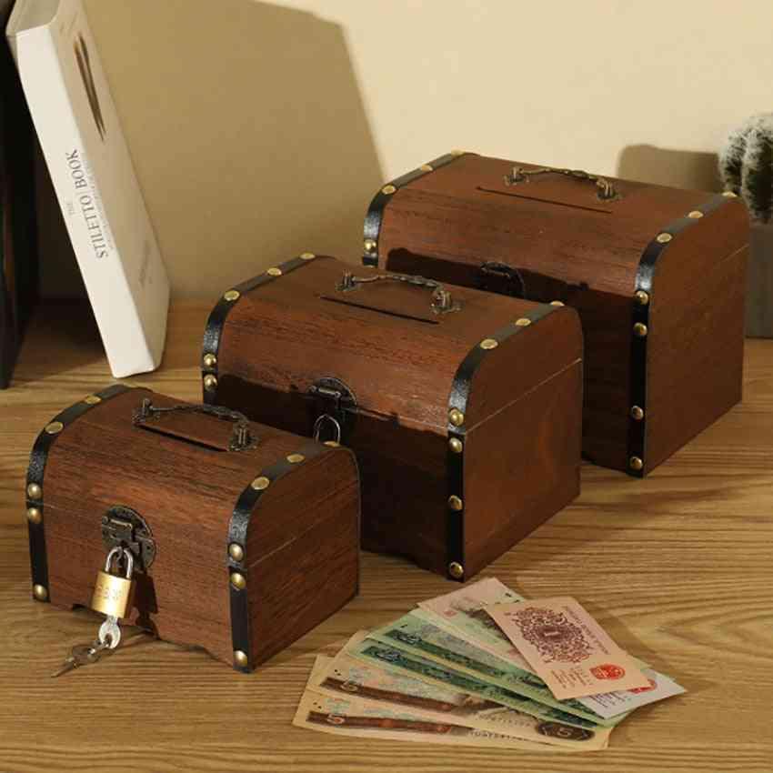 Vintage Wooden Treasure Chest Piggy Bank - Child Cash Coin Storage Box