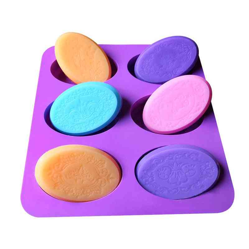 Cavity Oval Silicone Soap Mold - Diy Handmade Craft For Fondant Cake Decorating