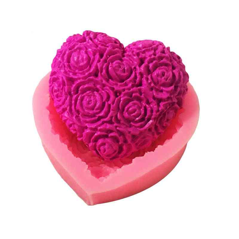 Lovely Heart Rose Flower Silicone Soap Mold - Diy Fondant Cake Making Supplies
