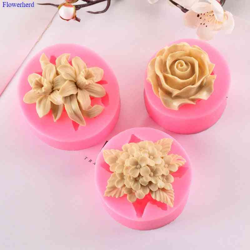 Lilac Rose Lily Fondant Silicone Mould Gypsum Cake Decorating Diy Chocolate Baking Tools 3d Silicone Mold Handmade Soap Mold|soap Molds