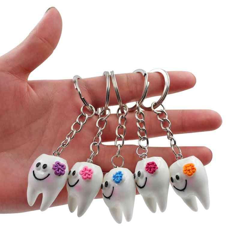 10pcs Cartoon Dental Simulation Teeth Key Chain ,key Ring