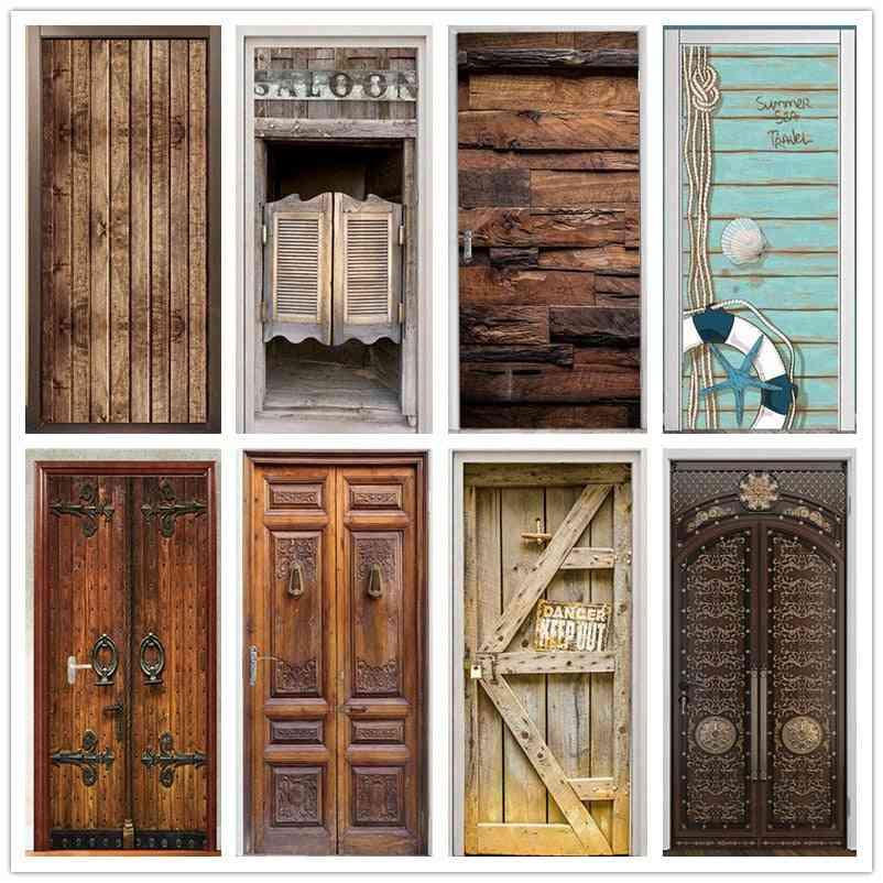 Retro Wooden Door Stickers, Pvc Waterproof And Wallpaper