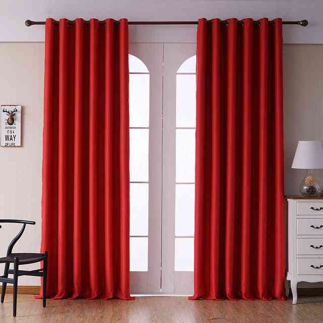 Modern Solid Color Finished Drapes Blackout Curtains