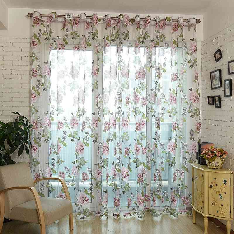 Floral Print Modern See Through Window Curtains For Kitchen, Bathroom, Door Partition
