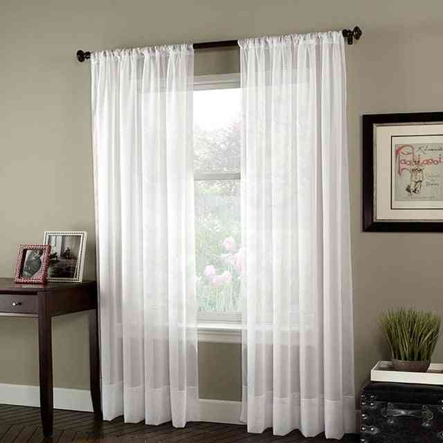 Solid White Modern Tulle Voile Finished Drapes Home Decor Window Curtains