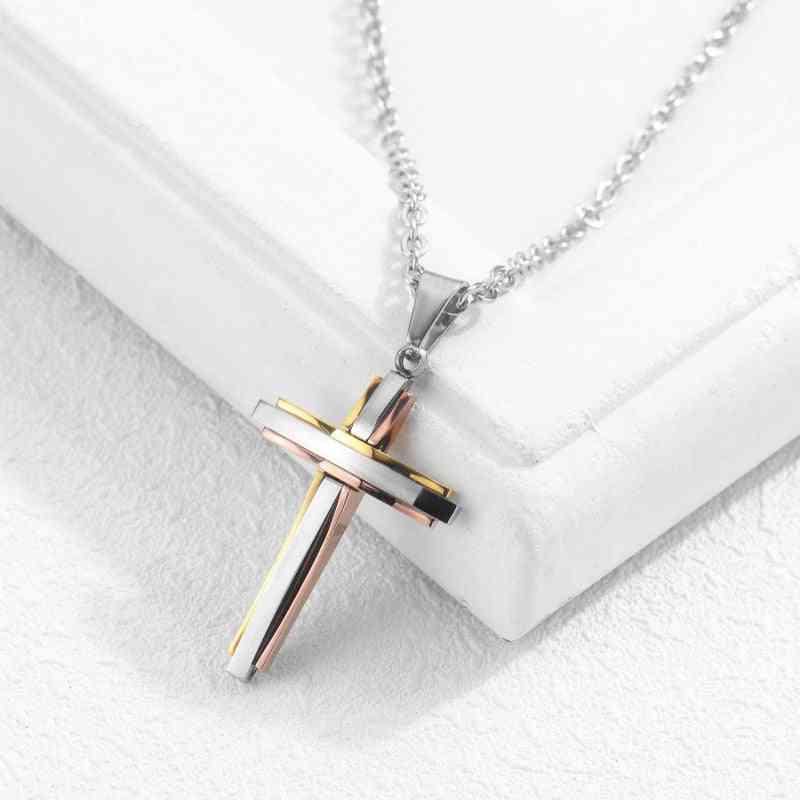 Men And Women Necklace, Titanium Steel Cross Pendant Christian