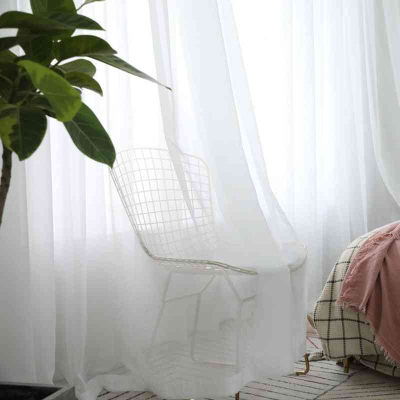 Modern, Solid White, Transparent Tulle Curtains