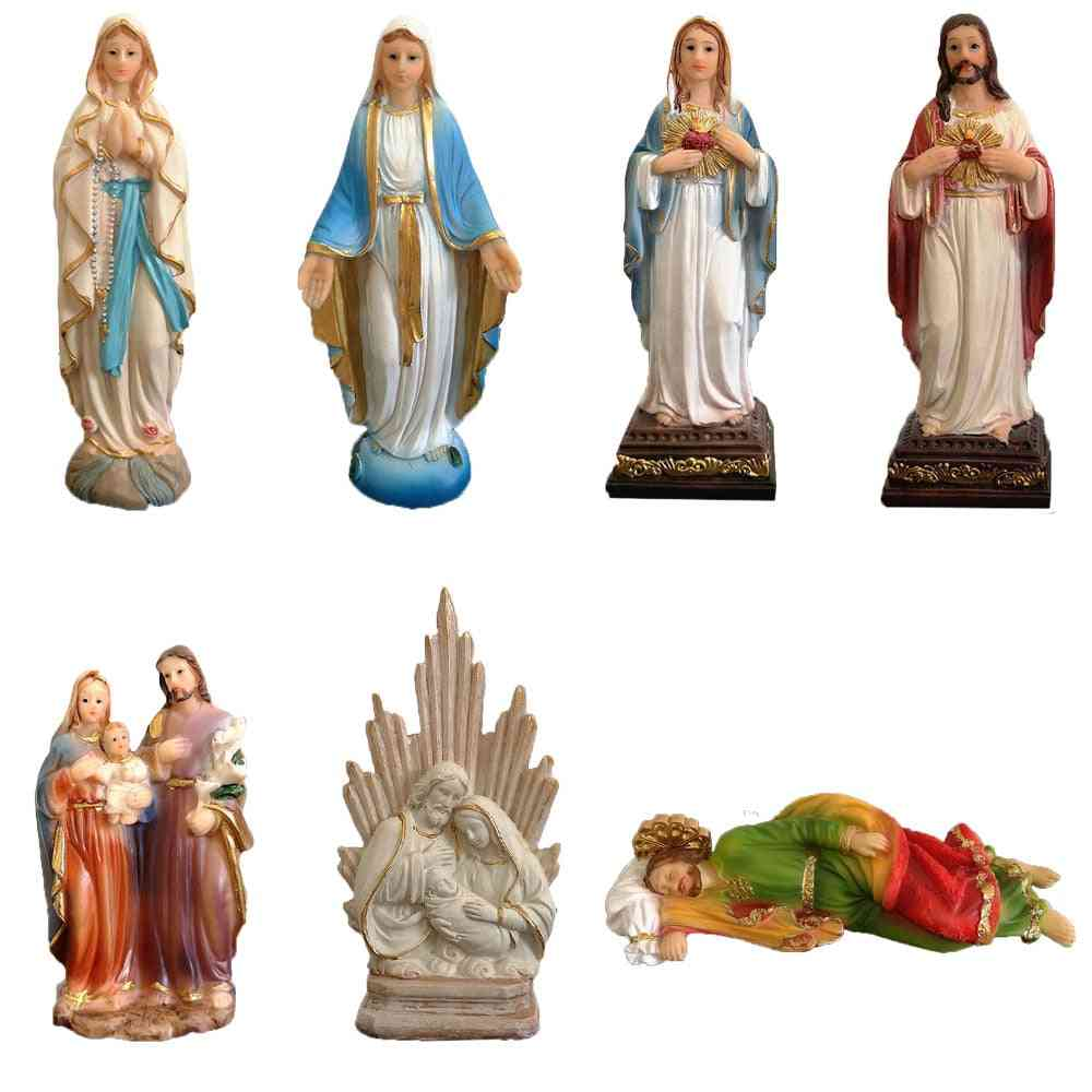 Religious Figurine - Resin Holy Family Statue, Jesus Sacred Heart, Blessed Virgin Mary, Our Lady Of Lourdes