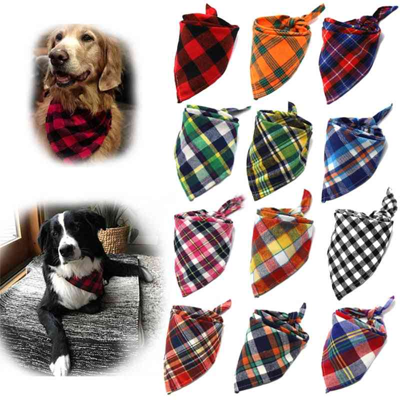 Dog Bandanas Large Scarf For Dog Cotton Plaid Washable Bow Ties Collar