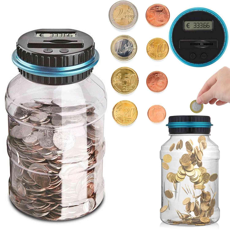 1.5l Electronic Digital Lcd Counting Coin Euro Money Saving Box/piggy Bank