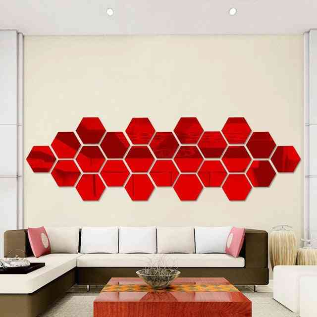 Hexagonal 3d Mirror Wall Stickers - For Restaurant Aisle Floor