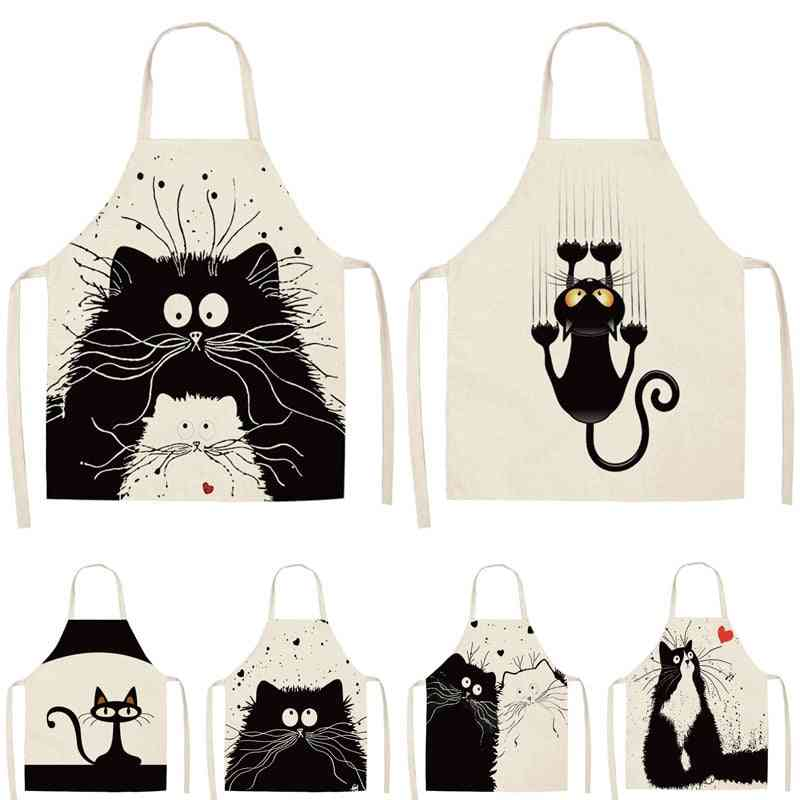 Kitchen Cooking Apron Cute Cat Printed Home Sleeveless Cotton Linen Aprons For Men Women Baking Accessories